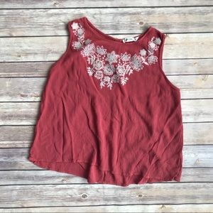 Women's Boutique Emroidered Tank in Red